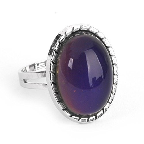 LUOEM Colour Changing Mood Ring Adjustable Oval Ring Emotion Feeling Ring