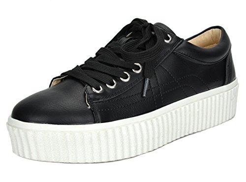 TOETOS Women's REINNA-01 Black White Lace up Platform Sneakers Shoes - 7.5 M US (White Black Platform And)