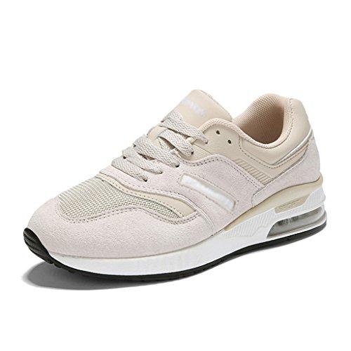 HWF Zapatos para mujer Las zapatillas de deporte ocasionales planas de primavera de los deportes de primavera de las mujeres zapatos de malla transpirables femeninos ( Color : Beige pink , Tamaño : 35 Beige