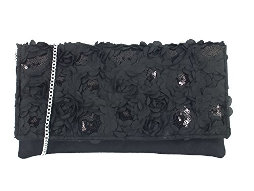 Bag Evening Bag Womens Black Sequin Wedding Shoulder Clutch Prom Bag Party Loni Glitzy 5XPq6F5w