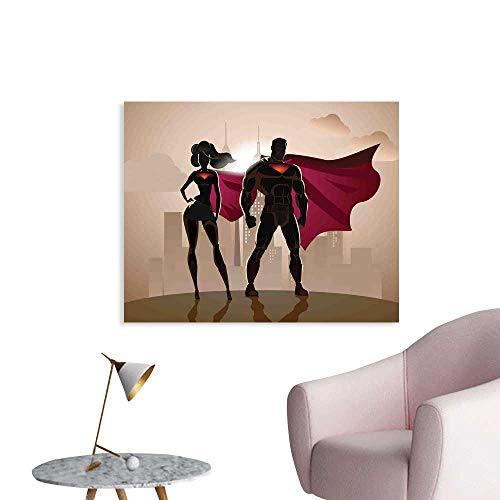 J Chief Sky Superhero Wall Picture Decoration Super Woman and Man Heroes in City Solving Crime Hot Couple in Costume Wall Stickers for Kids Room W24 xL20]()