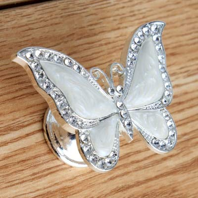 Fashion Creative silver gold bronze butterfly furniture handle clear crystal black white drawer shoe cabinet cupboard knob pull - (Color: silver -