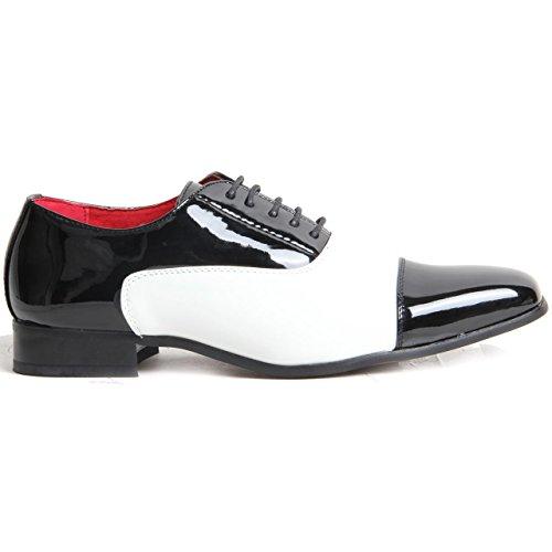 Orteil Lacets À amp; Mancheron Chaussures Noir Véritable Blanc Gangster Cuir Doubléélégant Spectateur Hommes Zqtga