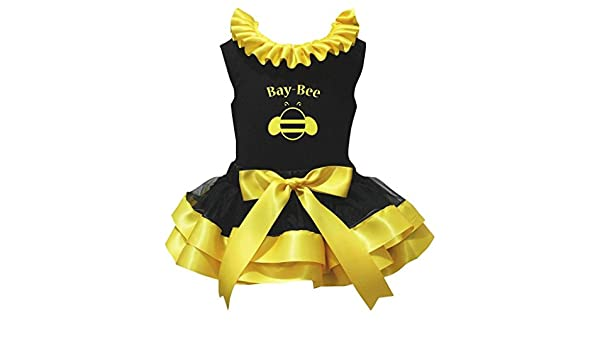 Petitebella 1st to 6th Bee White Shirt Black Yellow Petal Skirt Set Nb-8y