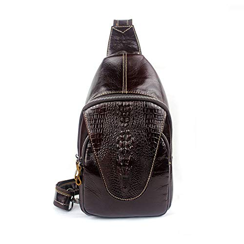 Bag Bags Male Pattern Chest Aihifly Black Packet Genuine Embossing color Crossbody Crocodile Coffee Leather Shoulder HwE0ppSqz