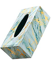 Housoutil Pu Wood Tissue Cover Box Green Marbling Style Tissue Box Paper Tissue Dispenser Scandinavian Style Paper Tissue Container