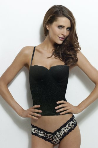 Smart & Sexy, Lightly Lined Underwire Smoothing Satin Bustier (38D, Black (Print Satin Bustier)