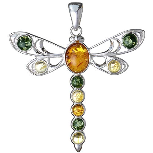 - HolidayGiftShops Sterling Silver and Baltic Amber Dragonfly Pendant