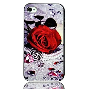 Love Crystal Rose Plastic Phone Shell for iPhone 4/4S