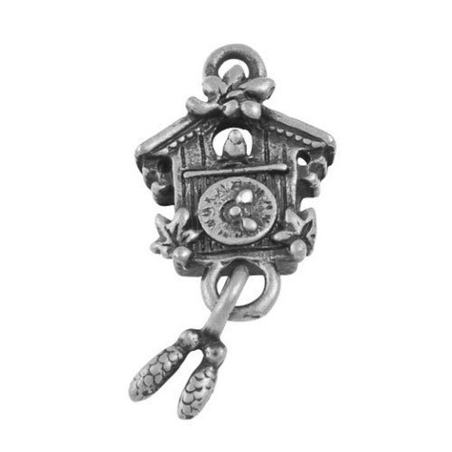 Cuckoo Clock Charm - Pack of 10 x Antique Silver Tibetan 25mm Charms Pendants (Cuckoo Clock) - (ZX08750) - Charming Beads