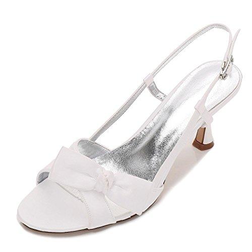 L@YC Femmes Peep Toe E17061-19 Ribbons Satin Talons Bas Demoiselle D'Honneur Mariage Nuptiale Chaussures Ivoire ph0qtujwUz