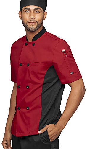 (Men's Short Sleeve Chef Coat with Mesh Side Panels (S-3X, 4 Colors) (Large, Red/Black))