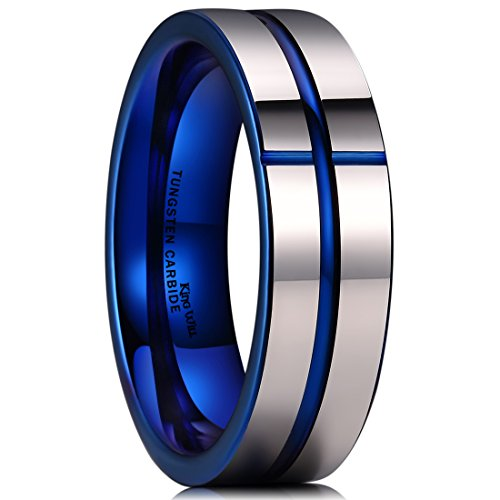 King Will 7mm Silver Tungsten Carbide Ring Blue Cross Line Groove Wedding Band Highly Polished (9) (4 Tungsten Carbide Crosses)