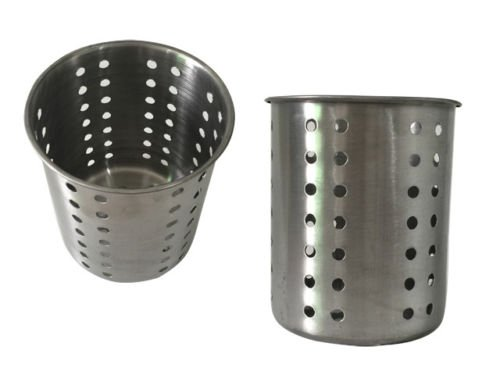 Kitchen Utensil Holder - Utensil Container - Utensil Cock - Flatware Caddy - Brushed Stainless Steel Cookware Cutlery Utensil Holder with Drain Holes