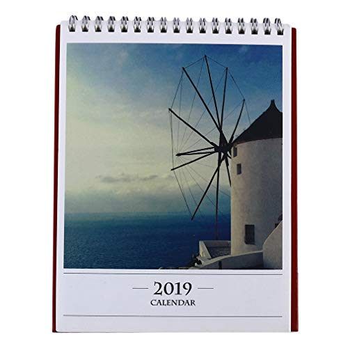 (DearAnswer 2019 Desk Calendar Year Daily Planner Desktop Calendar Charm Scenic Cover Home Office Supplies,2#)