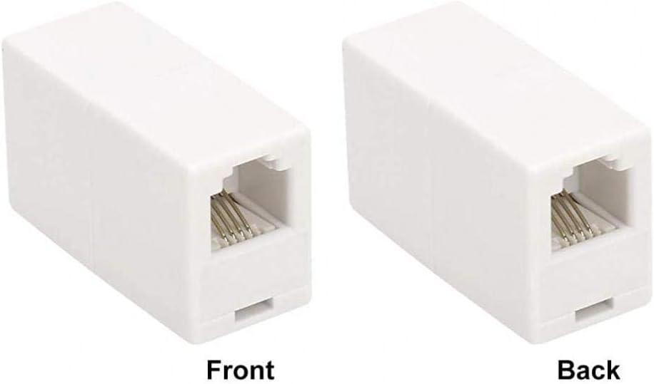 Case/&Cover 6 Pack Rj11 6p4c del Acoplador En L/ínea Uvital Modular Hembra a Hembra Recto Cuerda del Cable De Extensi/ón De Tel/éfono Adaptador De Acoplamiento De Jack White