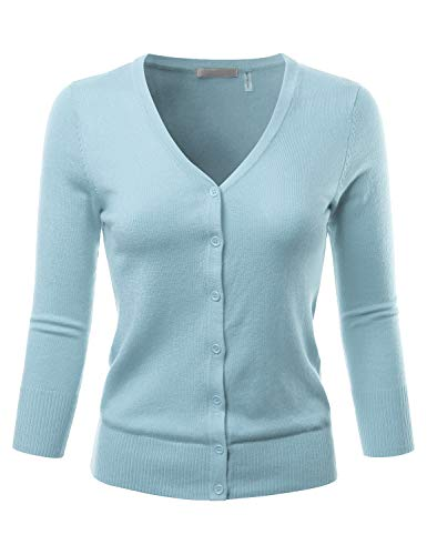 Cotton Cardigan Nylon - EIMIN Women's 3/4 Sleeve V-Neck Button Down Stretch Knit Cardigan Sweater SkyBlue 1XL