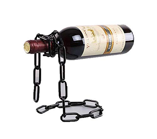 Unique Wine Holder - Suspended Iron Chain Grape Red Wine Bottle Rack Euro Art Decor Stemless Leaning Corner Shelf Simple Stand Unusual Organizer Unique Holder Stylish Storage Metal Personalized Interesting Display (Black)