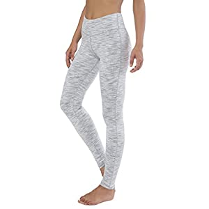 Queenie Ke Women Power Flex Yoga Pants Workout Running Leggings - All Color Size M Color White Grey Space Dye Long