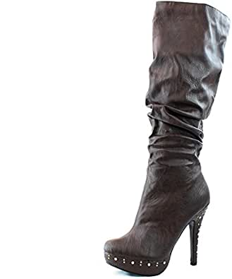 Women's Opera-01 Brown Leather Knee High Platform Boots Shoes, Brown, 5.5