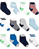 Simple Joys by Carter's Boys' 12-Pack Socks, Blue/White/Grey, 3-12 Months