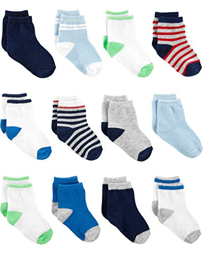 Simple Joys by Carter's Boys' 12-Pack Socks, Blue/White/Grey, 12-24 Months