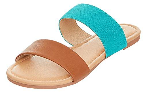 Floopi Womens Summer Wide Elastic Slide Flat Sandal (7, Tan/Teal-503) by Floopi (Image #1)