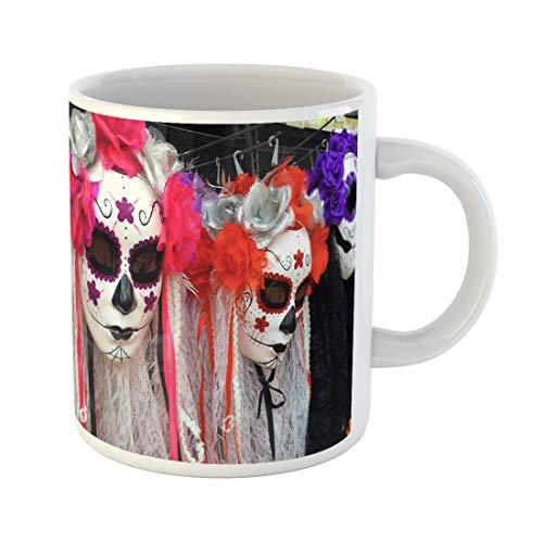 Semtomn Funny Coffee Mug Traditional Mexican Colorful Skull Costumes La Muerte Mask - 11 Oz Ceramic Coffee Mugs Tea Cup Best Gift Or Souvenir -