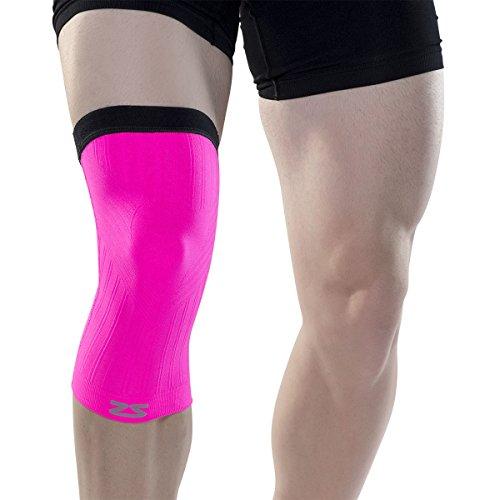 Zensah Compression Knee Sleeve - Relieve Knee Pain, Treat Runners Knee, Patella Support (Medium, Neon Pink)