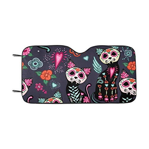 (INTERESTPRINT Day of The Dead Halloween Cats Flowers Front Windshield Sun Shades, Accordion Folding Auto Sunshades for Car Truck)