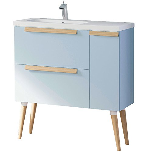 Randalco 32'' Nordic Modern Bathroom Vanity Cabinet Set | Light Blue | 32 x 24 x 18 Inch Vanity Cabinet + Ceramic Top by Randalco