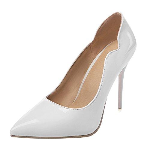 Charm Foot Womens Tacco Alto Classico Tacchi A Spillo Scarpe Scarpe Bianche