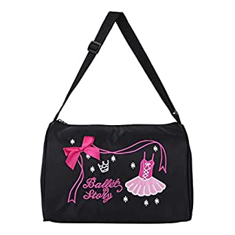 YiZYiF Pretty Girls Dance Bag Fashion Kids Ballerina Ballet Handbag Zipper Closure Shoulder Bag Duffel Bag Black One Size