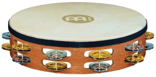 Meinl Percussion TAH2M-SNT Traditional 10-Inch Wood Tambourine with Goat Skin Head and Dual Alloy Jingles, 2 ()