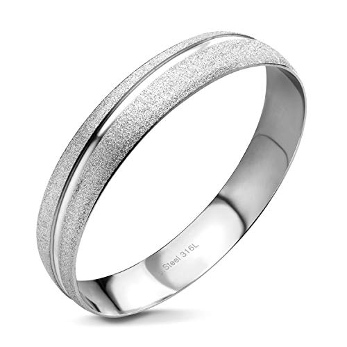 - 555Jewelry Womens Stainless Steel Two Tone Mixed Metal Matte Texture Shiny Glitter Swirl Stackable Trendy Hypoallergenic Fashion Accessory Jewelry Cuff Bracelet Bangle, Silver