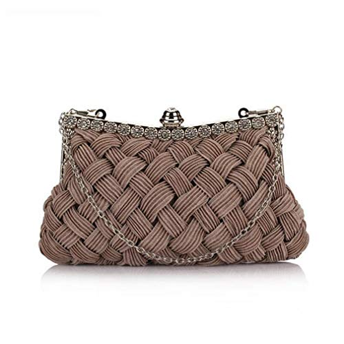 Women's Bride Diamond grey Tote Day Clutch Clutch Bag Evening Party ULKpiaoliang Bag Full Knitted Dress Chains xEqCwBgY