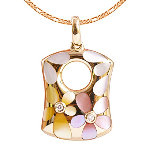 (9K High Polished Rose Gold with White-Yellow-Pink Pearl and 0.02ct Diamond Fabulous Pendant)