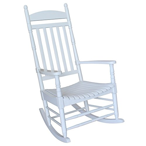 - International Concepts Turned Post Solid Acacia Wood Porch Rocker White