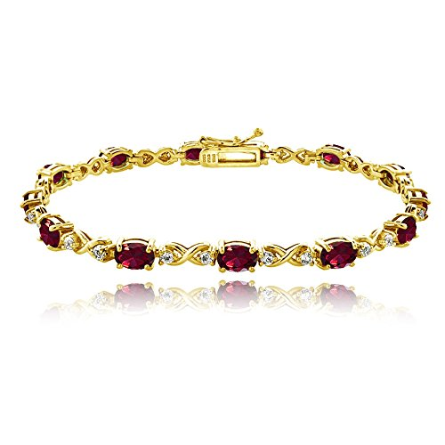 (GemStar USA Yellow Gold Flashed Sterling Silver Created Ruby 6x4mm Oval Infinity Bracelet with White Topaz Accents)