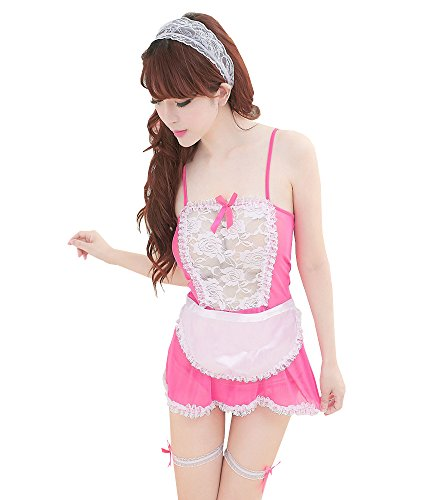Japanese Sexy Costumes (M_Eshop Japanese Maid Costume Sexy Maid Lingerie Apron Halloween Costume for Women (Pink))