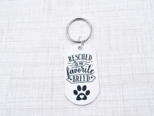 Rescued is my Favorite Breed Keychain