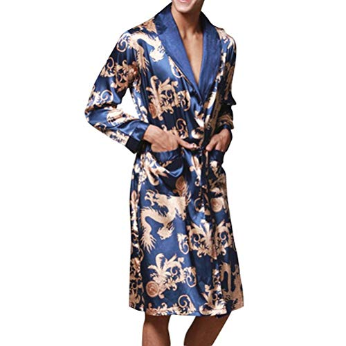 Baño Estilo Verano Moda Albornoz Bata De Bañador Hombre Pijamas Primavera Loungewear Ligero Acogedor Homewear Blau Simple RpRTx8