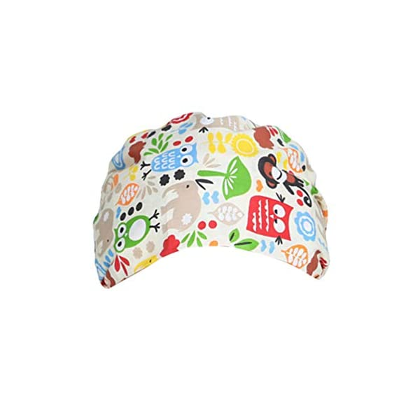 TENDYCOCO 1 Unid Algodón Mono Búho Correa Impresa Sombrero de Trabajo Quirófano Gorro Médico Gorro de Enfermera Sombrero para Médico Y Enfermera 2