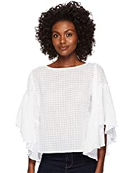 Two by Vince Camuto Womens Textured Grid Drop Shoulder Ruffle Sleeve Blouse