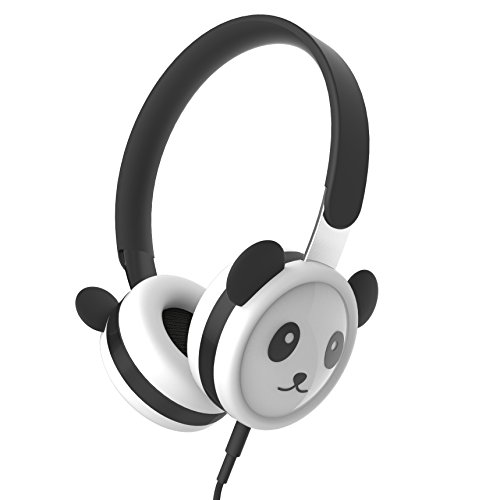 Panda Headphones for Kids, Volume Limited Hearing Protection, Stainless Steel Adjustable Headband, Child-Friendly Silicone, Wired On-Ear Headsets for Children Boys & Girls