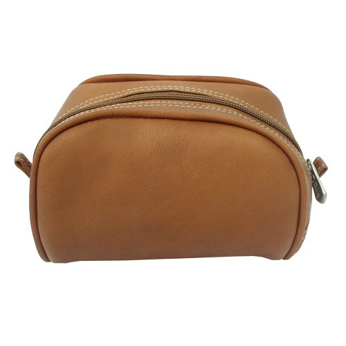 Piel Leather Cosmetic Bag, Saddle, One Size
