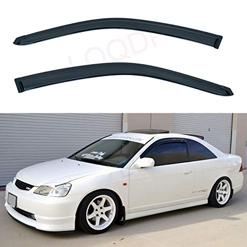 LQQDP Set of 2 Front JDM Smoke Sun/Rain Guard Outside Mount Tape-On Acrylic Window Visors For 01-05 Honda Civic 2-Door Coupe ()