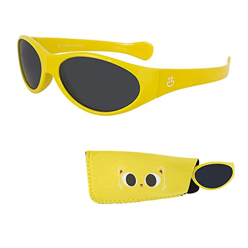 Sunglasses for Babies – Smoked Lenses - Reduces Glare, 100% UV Protection for Infants and Toddlers Ages 1 Month to 3 Years - Shiny Yellow Frame - Matching Pouch - - For Glares Face Round