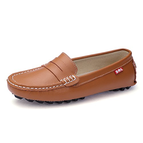 SUNROLAN 818-2zong8.5 Casual Women's Genuine Leather Penny Loafers Driving Moccasins Slip-On Boat Flats Shoes (8.5 B(M) US, Light Brown) by SUNROLAN