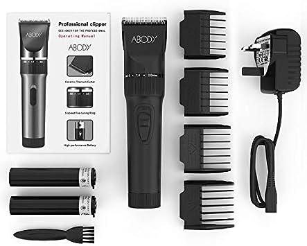 Abody pelo cortapelos afeitadora inalámbrico batería peluquería pelo Trimmer Cuchilla de Cerámica y Titanio para Hombre y bebés con 2 pilas recargables 4 peine: Amazon.es: Belleza